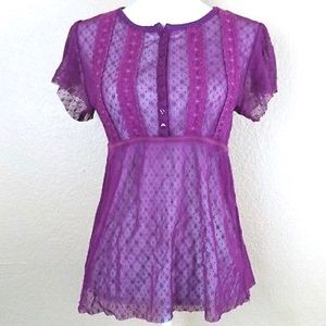 """Free People"" sheer blouse in Vibrant Violet"